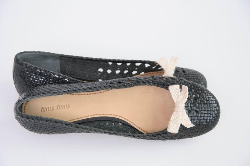 prada miu miu ballerina flats flat woven leather shoes balerinas size 10 ebay. Black Bedroom Furniture Sets. Home Design Ideas